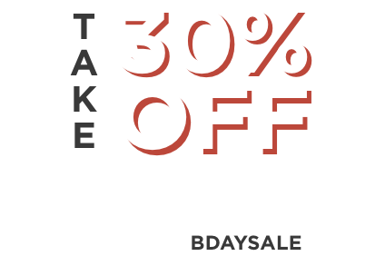 Take 30% off everything. Use code BDAYSALE