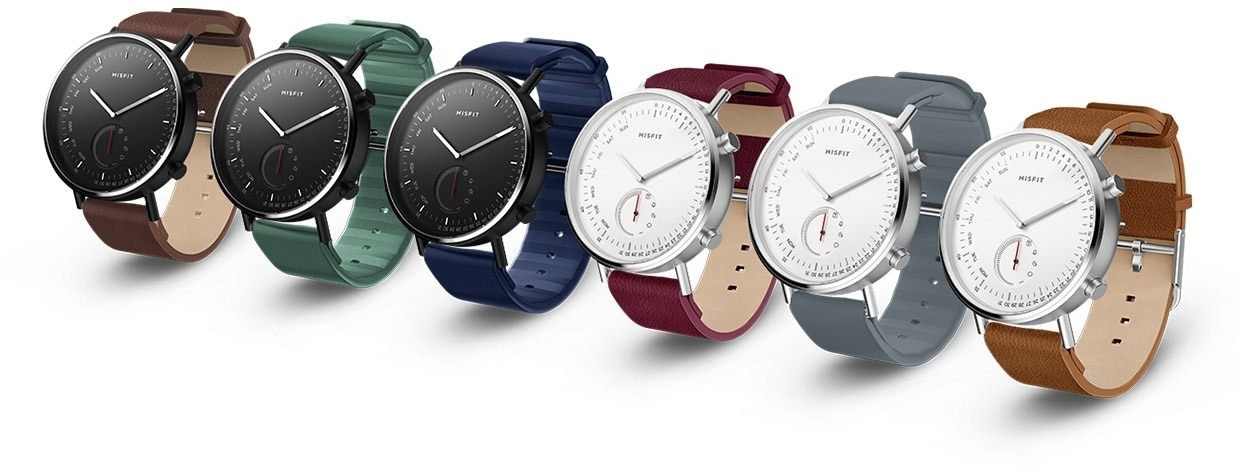An array of customized Misfit smartwatches